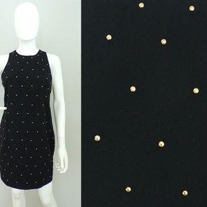 Vintage 80s Mini Dress Gold Studded Black Small
